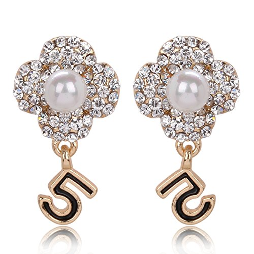 AI.NI Wasser Diamanten besetzten Pearl Video Qualität weiblich Ohr Schrauben, Secure Digital weiblich Ohr Ohr Ornamente, Weiß