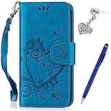 Huawei Honor 9 Lite Hülle,Huawei Honor 9 Lite Schutzhülle,Prägung Liebes Herz Blumen Muster PU Lederhülle Flip Hülle Handyhülle Ständer Tasche Wallet Case Schutzhülle für Huawei Honor 9 Lite,Blau