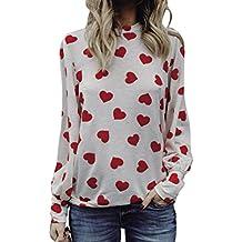 Camisa de mujer Las mujeres aman la impresión del día de San Valentín de manga larga del regalo de la cosecha del suéter Tops Moda Casual Sexy Talla extra ...
