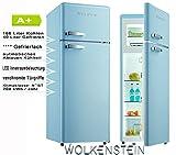 Wolkenstein Retro Kühlschrank Blau Glanz A+ Kühl- Gefrierkombi