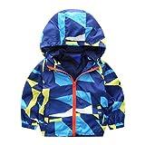 Hffan Baby Säugling Mädchen Junge Mode Herbst Winter Geometrisch mit Kapuze Reißverschluss Mantel Jacke Dick Warm Kleider übergangsjacke Softshelljacke Trenchjacke Blouson (12 Monate, Blau)