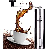 Manual Coffee Grinder, Adjustable Conical Burr Mill, Stainless Steel Espresso Grinder, Consistent Grind With Replacement And Rubber Holder, For French Press, Coffee Dripper And Travel.