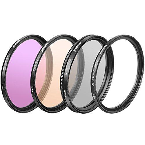 Neewer 4-teilig 72mm Professionelle Fotografie Objektiv Filter Kit für DSLR Kamera, inklusive: UV, CPL, FLD, Erwärmung Filter, aus HD Optisches Glas und Aluminium Legierung