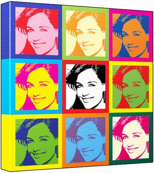 Katie Holmes - Pop Art Print (3-Tone; Andy Warhol's Che Guevara Style) 50 x 50 x 2 cm Large Square Deep Box Canvas