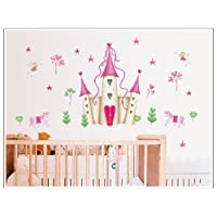 Xiton Wall Stickers Art Large Princess Fairy Castle Wall Stickers Wall Decals Kids Bedroom Nursery