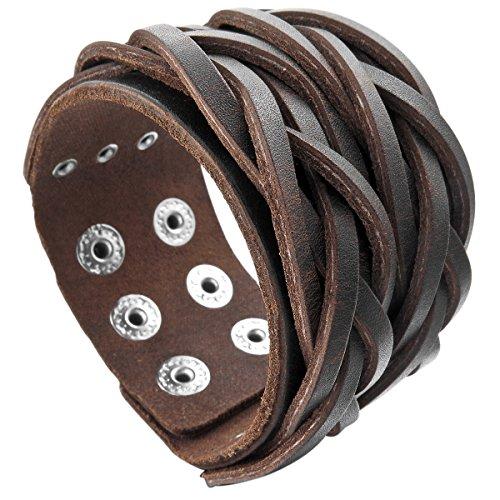 MunkiMix Metalllegierung Legierung Echtleder Armband Armreifen Manschette Seil Braun Einstellbar Verstellbaren Herren