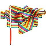 JUNGEN 2 Pcs Gymnastique Ruban Coloré Streamer Pièce de tissu Accessoires de danse Jouet Gym Rainbow Rythmique Rubans avec Baguette Art Artistique