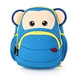 Wasserdicht niedliche Cartoon-Tier Zoo Monkey Kind-Jungen-Mädchen-Kleinkind -Baby-Kinder-Rucksack Schüler Schulbuch -Geldbeutel Rucksäcke beiläufige Daypack Lunch Box Rucksack (blau)
