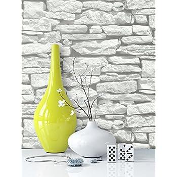 Steintapete In Weiß | Schöne Edle Tapete Im Steinmauer Design