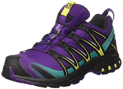 Salomon Xa Pro 3D Gtx, Zapatos de Low Rise Senderismo para Mujer, Multicolor (Acai/Black/Dynasty Green), 41 1/3 EU