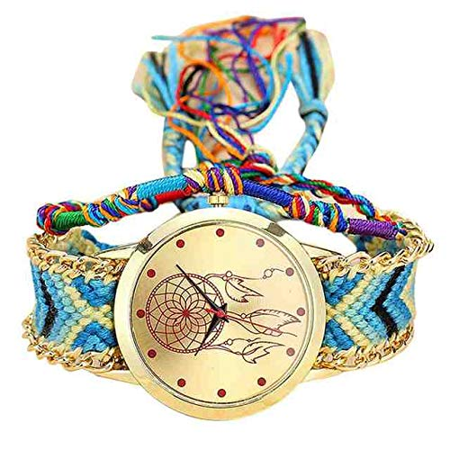 WDQTDY Relogio Feminino Hecho a Mano Señoras Vintage Reloj de Cuarzo Atrapasueños Reloj de la Amistad Terciopelo Coreano Causal relogios B40 Azul