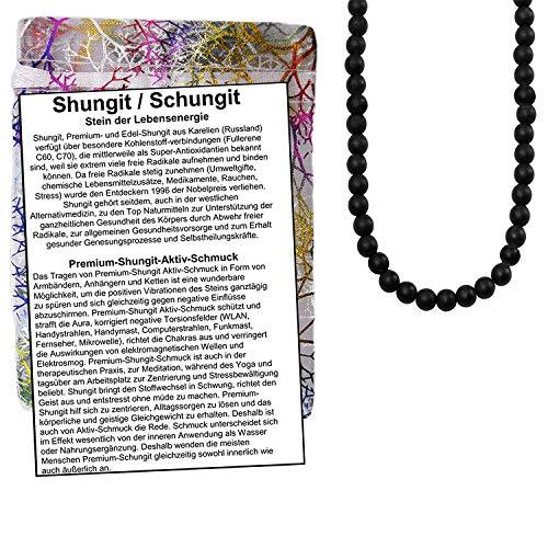 Premium Shungit (Schungit) Edelstein AKTIV Schmuck. HALSKETTE (6mm Kugeln, 45cm lang mit 925 Silber Verschluss) + BESCHREIBUNG + TÄSCHCHEN. 82002