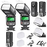 Neewer® PRO i-TTL Flash *Kit Delux* para NIKON DSLR D7100 D7000 D5300 D5200 D5100 D5000 D3200 D3100 D3300 D90 D800 D700 D300 D300S D610, D600, D4 D3S D3X D3 D200 N90S F5 F6 F100 F90 F90X D4S D SLR Camara. Inclulye: 2 Neewer Flashes de Enfoque Automatico + Disparador Inalambrico (1 Transmitor, 2 Receptores) + 2 Cables M-Cord (Cuerda) & B-Cord (Cuerda) + 2 Difusor de Flash Duro + 2 Difusor de Flash Suave + 2 Soportes para Tapa de Lente