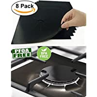 8 PCS Gas Range Protectors Sheets Gas Hob Protector, Black Stovetop Burner Protector Liner Cover Cleaners, Reusable, Non-Stick, Dishwasher Safe, Easy to Clean-FDA Approved