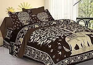 TIGER EXPORTS Cotton 144 TC Bedsheet (Dark Brown_King)