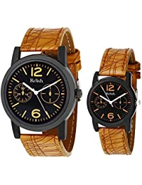Relish Combo Pack of 2 Analogue Black Dial Mens and Womens Watch-Re-Cou-0101