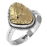 Solide 925 Sterldansg Silver Meilleur Vendeur Bijoux Naturel Péruvien Or Pyrite Druzy Pierre gemme Bague Taille 57.75