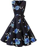 bridesmay 1950er Vintage Rockabilly V-Ausschnitt Kleid Retro Cocktailkleid Schwingen Kleid Faltenrock Blue Flower XL