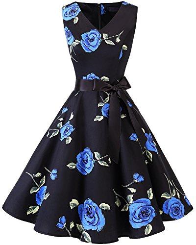 bridesmay 1950er V-Ausschnitt Kleid Vintage Cocktailkleid Rockabilly Retro Schwingen Kleid Faltenrock Blue Flower 4XL