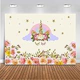 Mehofoto Einhorn Hintergrund 7x5 Baumwolle Polyester Kinder Geburtstag Fotografie Hintergrund Ölgemälde Kulissen für Baby-Dusche