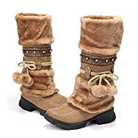 gracosy Womens Knee Boots Winter Snow Ankle Boots Fur Lined Warm Long Boots Flat Heel Slip on Mid Calf Warm Knight Boots Rhinestone Non Slip Girls Lace up Knee High Ankle Riding Boots Brown 6 UK