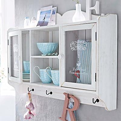 PureDay Landhaus - Armario auxiliar de madera, estilo envejecido, color blanco