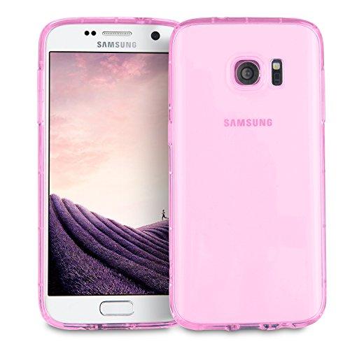 MyGadget Hülle TPU Case [Bumper Schutz] für Samsung Galaxy S7 - Crystal Clear & Stoßfest Schutzhülle - Silikon Back Cover dünne Handyhülle in Rosa Rosa Crystal Hard Case Cover