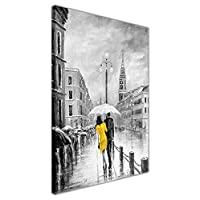 "Yellow Dress Under Umbrella Black and White Framed Canvas Pictures Wall Art Prints SIZE: A3 - 16"" X 12"" (40cm X 30cm)"