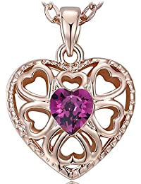 "NEEMODA ""Eternal Love"" Luxury Rose Gold Plated Heart Pendant Necklace with Austrian Crystal"