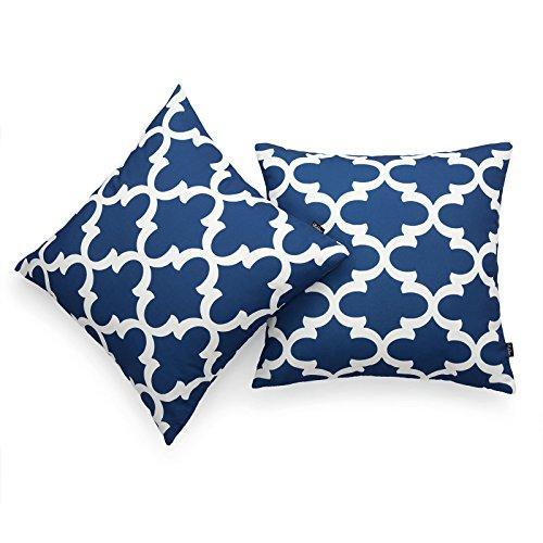 hofdeco von 2Stück dekorativer Überwurf-Kissenbezug Marineblau Pfingstrose blau Marokkanische Vierpass-skandinavischen Geometrische Leinwand Kissen Fall 45,7x 45,7cm (Stoff Geometrisches Muster)