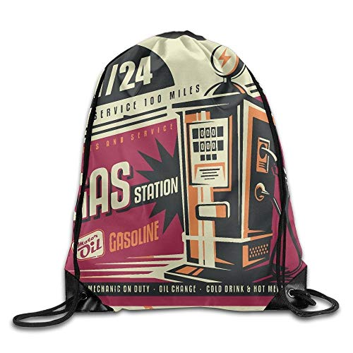 ZHIZIQIU Retro Poster Design for Gas Pump Unisex Home Rucksack Shoulder Bag Travel Drawstring Backpack Bag - 6 Trash Pump