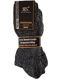 6 Paar Norweger Socken ohne Gummi Diabetikersocken Wolle Ohne Gummizug Plüschsohle (47-50, Antrazit)
