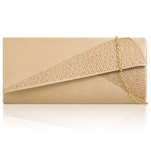 Zarla Grande pochette de soirée pour femme en Satin Motif fête soirée mariage ou bal UK Gold Gem