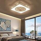 Ganeep Creativo Cuadrado LED Mute Ventilador de Techo Regulable luz con Control Remoto de Metal lámpara de la lámpara de Techo Moderna Dormitorio de la lámpara de Oficina Restaurante Sala Iluminación