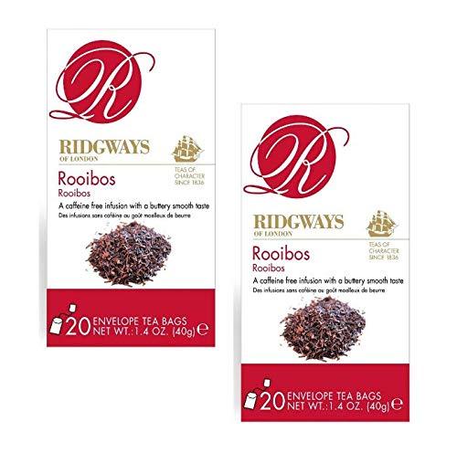 Ridgways of London Pure Infusion Rooibos Afrikanischer Roter Tee Koffeinfrei Weicher und Butterty Geschmack - 2 x 20 Teebeutel (80 Gramm)