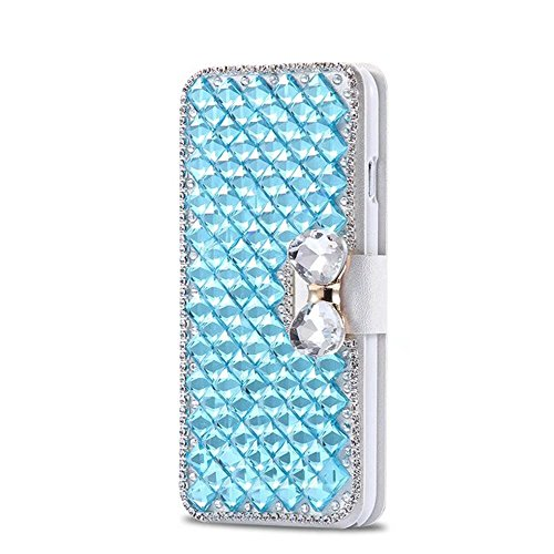 QianYang iPhone 8 Bling Coque iPhone 8 Etui Glitter Crystal Rhinestone Diamonds Clear Frame Housse pour iPhone 8 Case Cover pour IPhone 8 PU Cuir Hull cuir coque-bleu