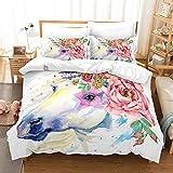 DMAI Gedrucktes Bettwäsche-Set 3teilig, Polyester - Weich Lichtbeständig Hautfreundlich Atmungsaktiv Dauerhaft Bettbezug-Set Farbiges Pony,Red,264 * 228cm
