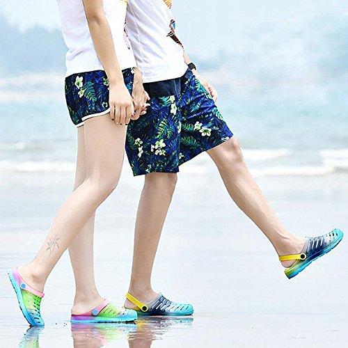 Eastlion Farben Steigung Paar Gelee Sandalen Sommer Strand Garten Schuhe Weiblich Farbe 1