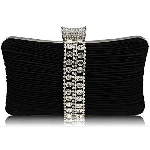 TrendStar Damen Kupplungs Taschen Damen Glitzernden Kristall Abend Abschlussball Partei Hochzeit Taschen Noir