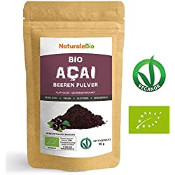 Açaí Beeren Pulver Bio [ Gefriergetrocknet ] 50g | Pure Organic Acai Berry Powder (Freeze-Dried) | 100% aus Brasilien, Getrocknet, Rohkost und Extrakt aus Pulp der Acai-Beeren Frucht | NATURALEBIO