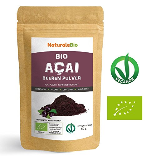 Açaí Beeren Pulver Bio [ Gefriergetrocknet ] 50g | Pure Organic Acai Berry Powder ( Freeze - Dried ) | 100% aus Brasilien, Getrocknet, Rohkost und Extrakt aus Pulp der Acai-Beeren Frucht | Superfood Reich an Antioxidantien und Vitaminen | Ideal für Saft, Smoothie, Rezepte, in der Müsli | 100% Vegan Friendly | NATURALEBIO (Acai Pure Berry)