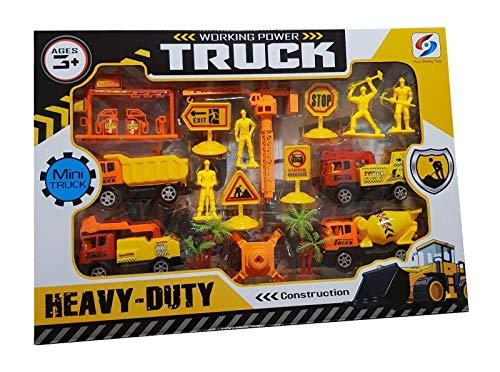 (ambestore XL Baustellen Spielzeug Set Baufahrzeuge Kran Einsatzwagen Auto LKW Tankstelle Verkehrsfiguren Spielfiguren Spielzeug für Spielteppich ab 3+)