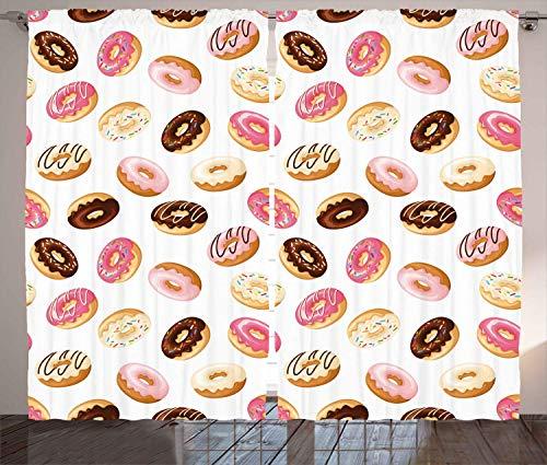 Hmihilu Food Curtains, American Traditional Classic Breakfast Fast Food Dessert Tasty Donuts Art Print, Living Room Bedroom Window Drapes 2 Panel Set,Coral Cream 110x86 in