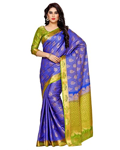 Mimosa By Kupinda Women\'s Art Silk Saree Kanjivaram Style (Latest Designer Sarees /Party wear sarees /New collection sarees) (4121-265-2D-RBLU-OLV) Color: Blue