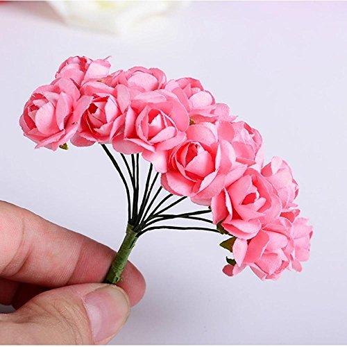 TXIN 288 Stücke Handarbeit Papierrosen Handarbeit Kunst Papier Rose Blumen Dekoration Hochzeit DIY Blumen Hotel Dekorationen (Rosa) (Wedding Mittelstücke Der Rote)