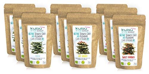 KULAU Algen-Snack (Bio), Algen-Chips, knusprige gewürzte Seetang-Blätter - 3 Sorten (9 x 25g Packung)
