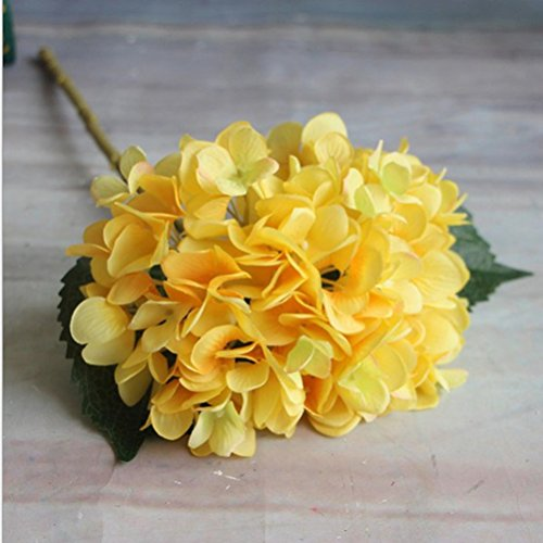 Eazyhurry. künstliche Hortensien-Blume aus Seide für Büro, Dekoration, waschbar, Blumen für Hochzeits-Blumensträuße, Party, gelb, 1 Flower - Blumen-reiniger-spray Seide,