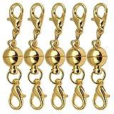 Sharplace 5er Set Vergoldet Magnet Halsketten Verschluss Magnetverschluss Kettenverschluss Magnetschließen Schmuckverschlüsse für DIY Schmuck - 8mm