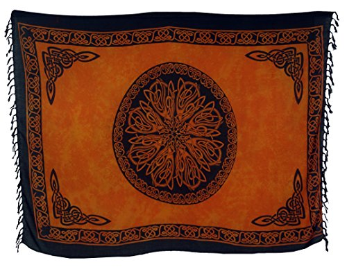 Guru-Shop Sarong, Wandbehang, Wickelrock, Sarongkleid Celtic, Herren/Damen, Orange, Synthetisch, Size:One Size, 160x100 cm, Sarongs, Strandtücher Alternative Bekleidung