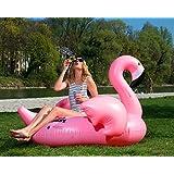 FLAMINGO XXL, riesige aufblasbare Schwimminsel, Flamingo aufblasbar, Schwimmtier, ***MUNICHSTANDARD***, Pool Luftmatratze, Floß, PVC, schwimmen, aufblasbares Schwebebett, Insel für 2 Personen, Pool, Beach, Strand, Party, XXL Luftmatratze, Wasserspielzeug für die ganze Familie (180cm x 155cm x 115cm, pink)